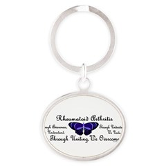 Butterfly Awareness 1 (Rheumatoid Arthritis) Oval Keychain