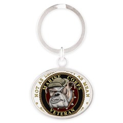 Devil Dog Vet Oval Keychain