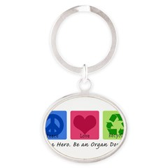 Peace Love Recycle Oval Keychain