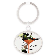 Halloween Martini Girl Oval Keychain