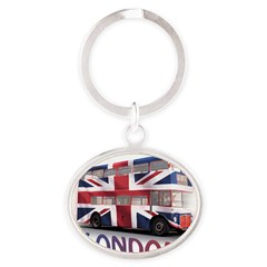 London Bus with Union Jack an Oval Keychain