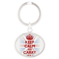 Keep Calm and Carry On Oval Keychain