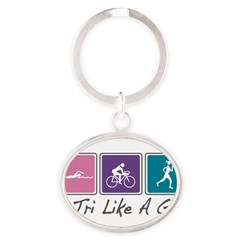 Tri Like A Girl Triathlete Oval Keychain