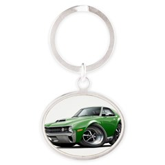 1970 AMX Green Car Oval Keychain