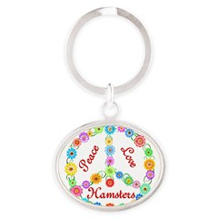 Peace Love Hamsters Oval Keychain