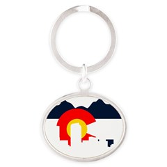 Colorado Rockies Flag Oval Keychain