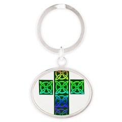 Glowing Celtic Cross Oval Keychain