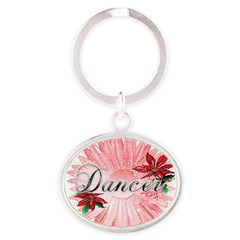 Dancer Pink Snow Flower Oval Keychain