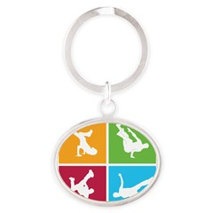 Nice various breakdancing Oval Keychain