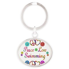 Peace Love Swimming Oval Keychain