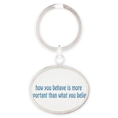 Behave / Believe Oval Keychain