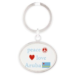 Peace, Love and Aruba Oval Keychain