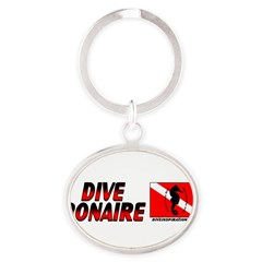 Dive Bonaire (red) Oval Keychain