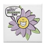 Happy Mother's Day Purple Flower Tile Coaster