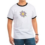 Purple Cartoon Flower Spring Ringer T
