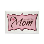 Pink World's Best Mom Plaque Rectangle Magnet (10