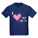I Love Heart My Mom Mother's Pink Kids Dark T-Shir