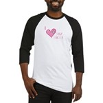 I Love Heart My Mom Mother's Pink Baseball Jersey
