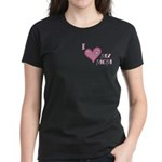I Love Heart My Mom Mother's Pink Women's Dark T-S