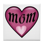 Pink Heart Mom Mother's Love Tile Coaster