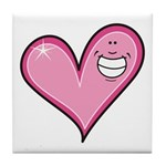 Pink Heart Cartoon Smile Smiley Tile Coaster