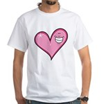 Pink Heart Cartoon Smile Smiley White T-Shirt