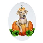 Yellow Labr-O-Lantern Oval Ornament