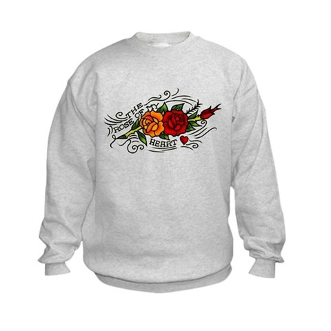 CafePress > Sweatshirts & Hoodies > Rose of Heart Tattoo Kids Sweatshirt. Rose of Heart Tattoo Kids Sweatshirt