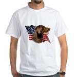 Chocolate Lab Flag White T-Shirt
