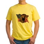 Chocolate Lab Flag Yellow T-Shirt