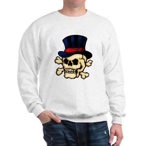 CafePress gt; Sweatshirts amp; Hoodies gt; Skull in Top Hat Tattoo Art Sweatshirt. Skull in Top Hat Tattoo Art Sweatshirt