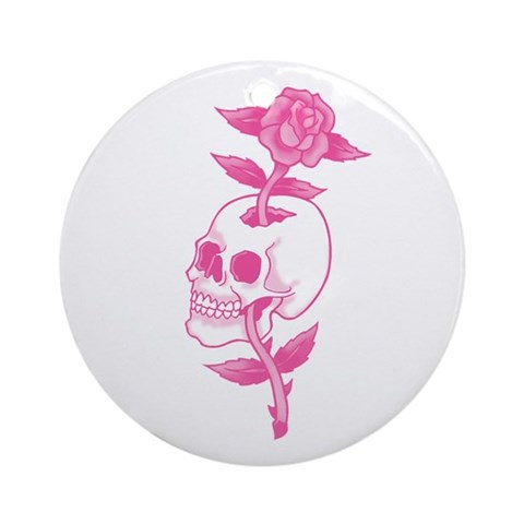 These tees and other items show a tattoo art style skull with a rose, all in pink.