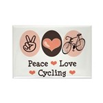 Bicycle Peace Love Cycling Rectangle Magnet (10 pa