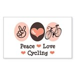 Bicycle Peace Love Cycling Rectangle Sticker