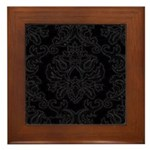 Black Gothic Damask Framed Tile