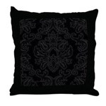 Black Gothic Damask Throw Pillow