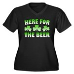 Here for the Beer Shamrock Women's Plus Size V-Nec