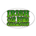 Irish Car Bomb Champion Shamrock Oval Sticker