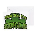 Kiss Me I'm Single Shamrock Greeting Cards (Pk of