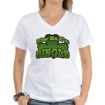 Kiss Me I'm Single Shamrock Women's V-Neck T-Shirt