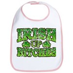 Distressed Drink Up Bitches Shamrock Bib