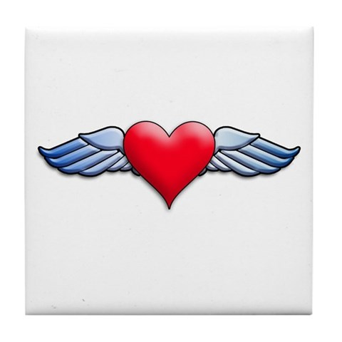 Heart with Wings Tattoo Inspired Tile Coaster