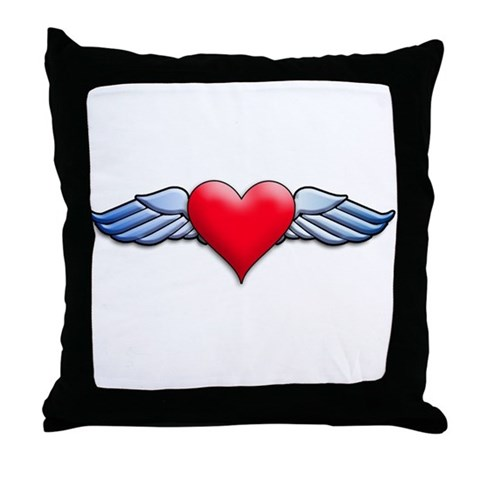 Heart with Wings Tattoo Inspired Throw Pillow