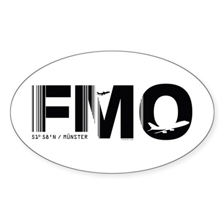 Munster Airport Code Germany FMO Oval Sticker