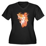 """Sonrise"" Women's Plus Size V-Neck Dark T-Shirt"