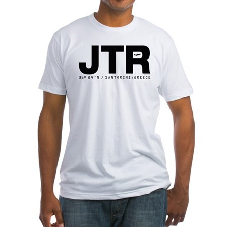 Santorini Greece JTR Black Des. Fitted T-Shirt