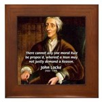 Philosophy John Locke Framed Tile
