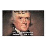 Work and Luck Jefferson Rectangle Sticker