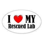 I Love My Rescued Lab Oval Sticker