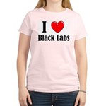 I Love Black Labradors Women's Pink T-Shirt